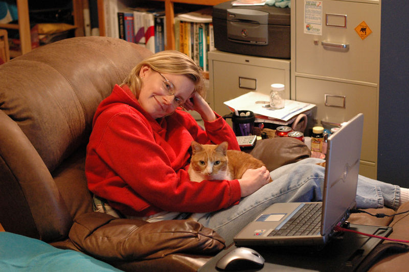 Dec 2006:  Me and Shelby in our favorite spot.  I'm in chair with my laptop with Shelby on my lap;  photo taken by Rich