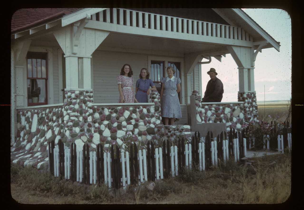 Peterson's [standing on porch]. Claydon. 08/29/1942