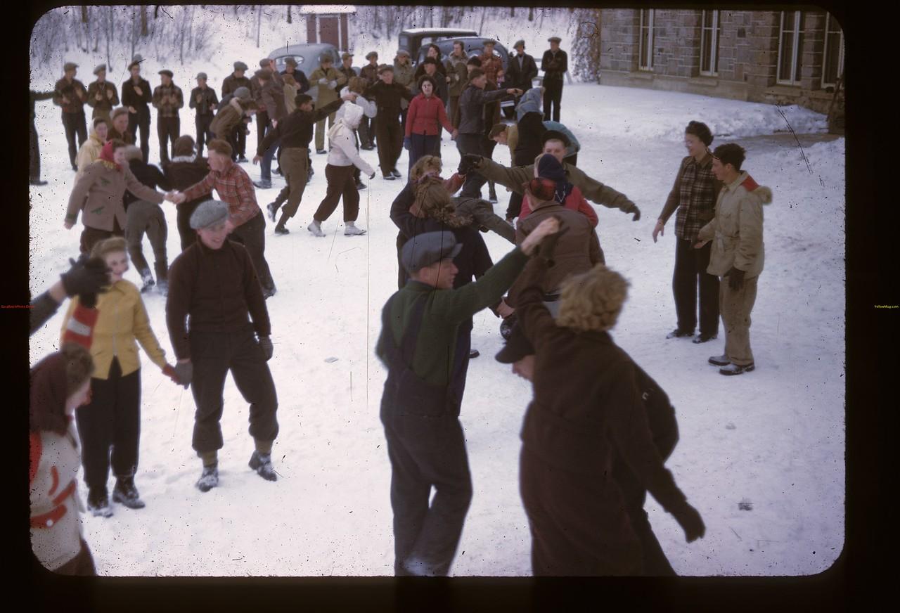 Folk Dancing in the Snow. Y-T-S.Kenosee. 11/26/1946