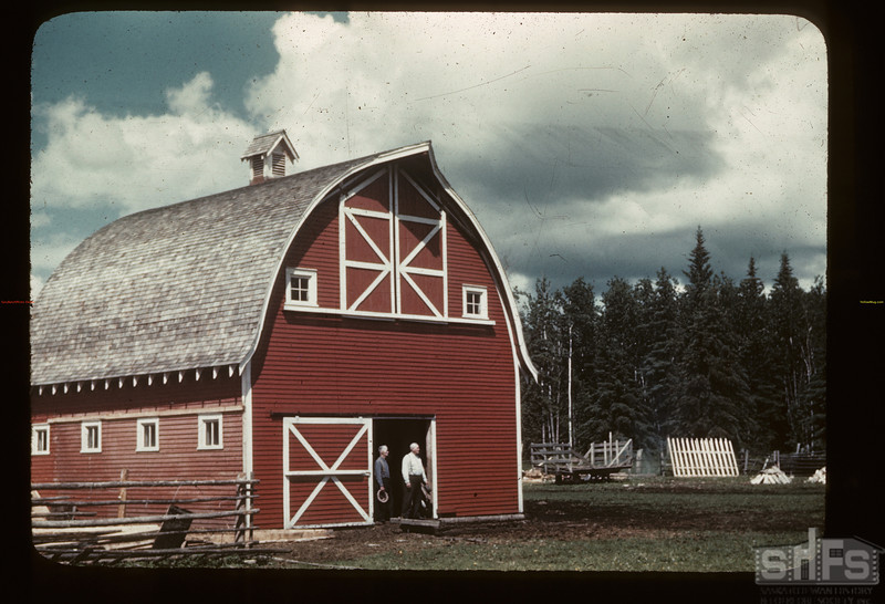 Norton Stroman's barn [Four Corners is just south of Meadow Lake]. Frenchman Butte. 07/17/1945