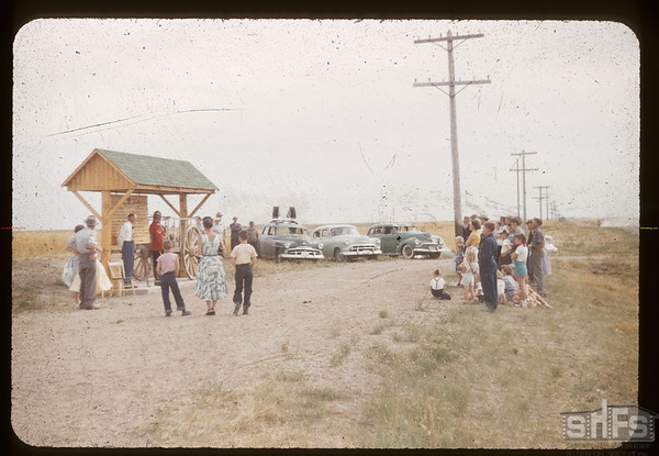 Dedication of marker for Wood Mountain to Fort Walsh Trail where it crosses highway # 37. Climax. 08/24/1955