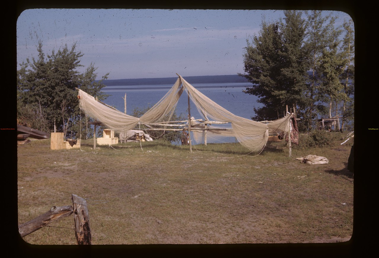 Drying nets - Island Lake - Wandler camp.  Goodsoil. 08/18/1945
