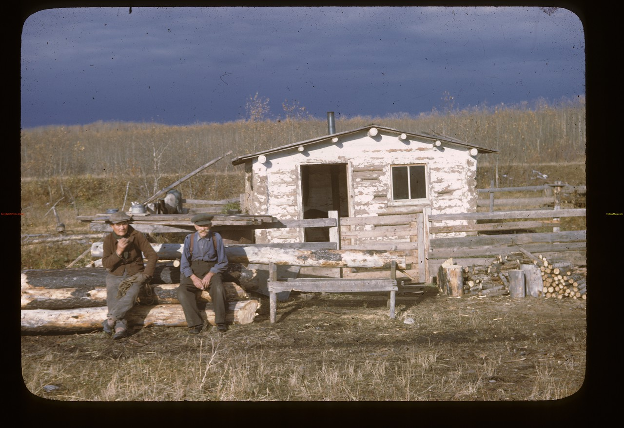 Henry Dufrense and friend at home. Loon Lake.  10/08/1946