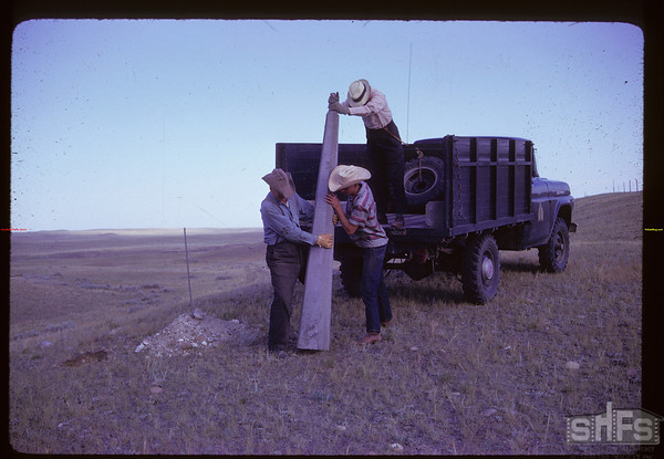 Unloading NWMP Marker from Fort Walsh truck - Alex McKelvey - Reddy Parsonage & Bob Orchard. Consul. 07/27/1961