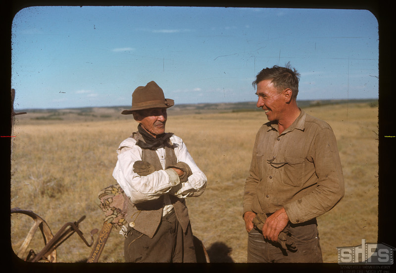 """Gabriel Lavallie and son Joe.  Picture in """"Trails and Traces"""". Cypress Hills. 08/26/1948"""