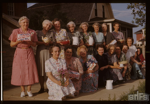 Ladies who served at Pool Committee Convention [from Gallery showing at Shaunavon Summer '03 - back row from left to right #1 Mrs. Dougherty; # 3 Mrs. Watson; # 4 Mrs Jack (Blanche) Elliott; # 5 Mrs. McMillan; # 7 Mrs. Kenkechet; Front Row from left to right # 1 Connie Middlemas; # 2 Mrs. Ellis; # 3 Ethel Ruchs; # 5 Blanche Hammond; # 7 Hazel Corbin]. Aneroid. 06/15/1951