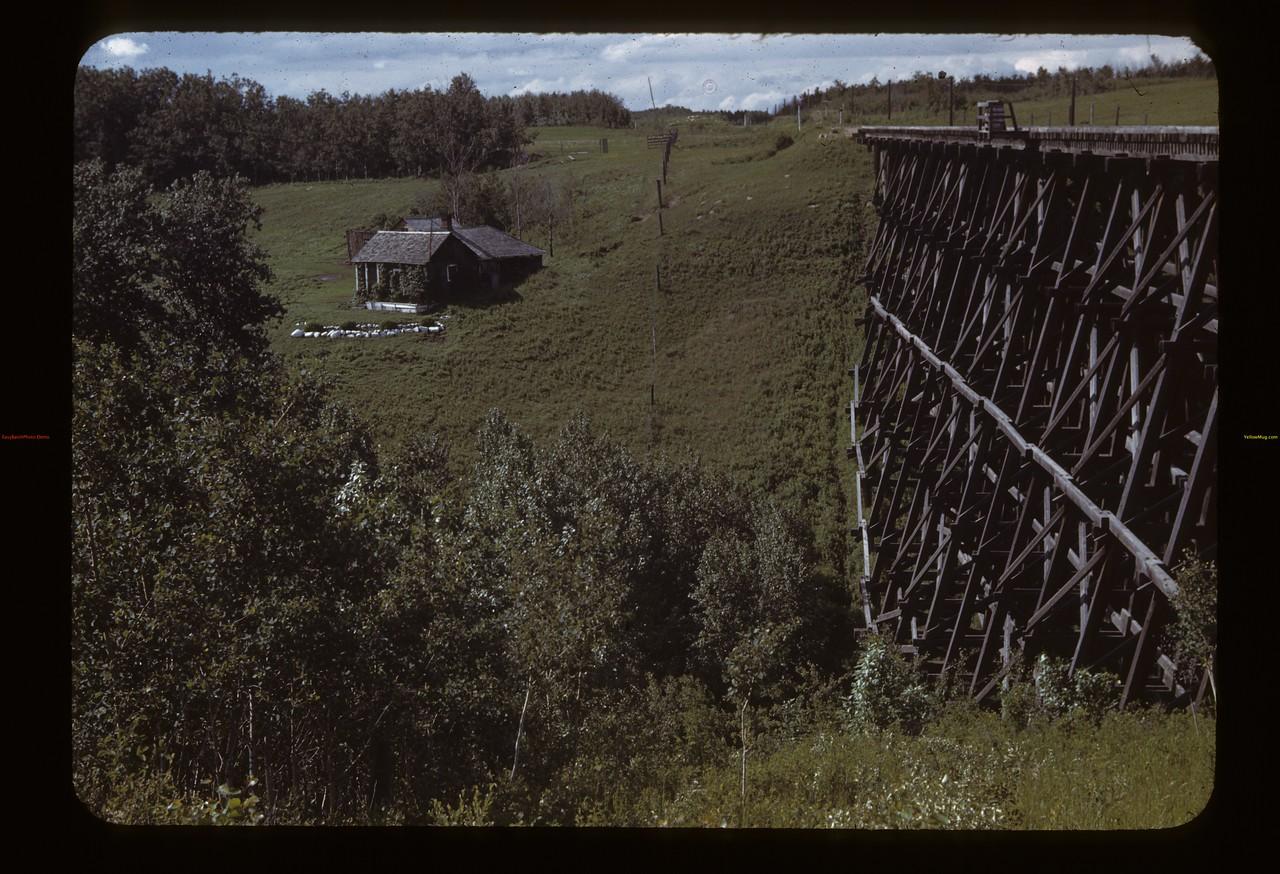 Train trestle near Stan Jarvis home. Frenchman Butte. 06/26/1943