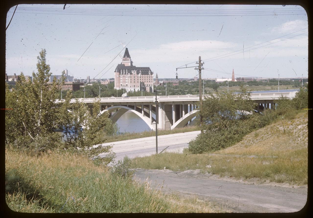 Bessborough Hotel from across Broadway Street Bridge. Saskatoon 08/12/1946