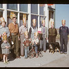 Customers and staff - Hazenmore co-op store [from Gallery showing Shaunavon Summer '03 - back row left to right # 4 Ken Lovely Manager; front row left to right # 2 Delmar Robinson (in plaid jacket)]. Hazenmore. 10/12/1951