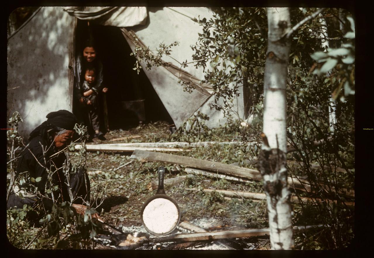 Stonehacker's prepare Bannock. Greig Lake. 06/27/1941