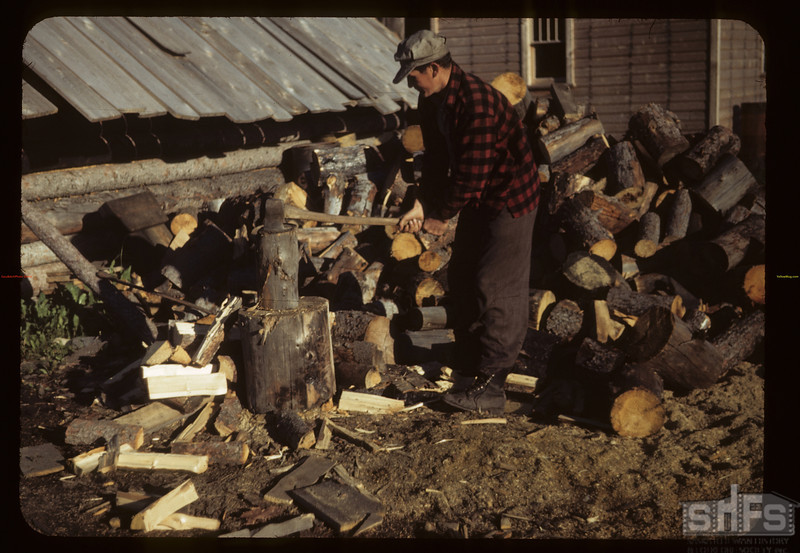 Wood splitter - co-op farm veteran. Carrot River. 07/18/1949