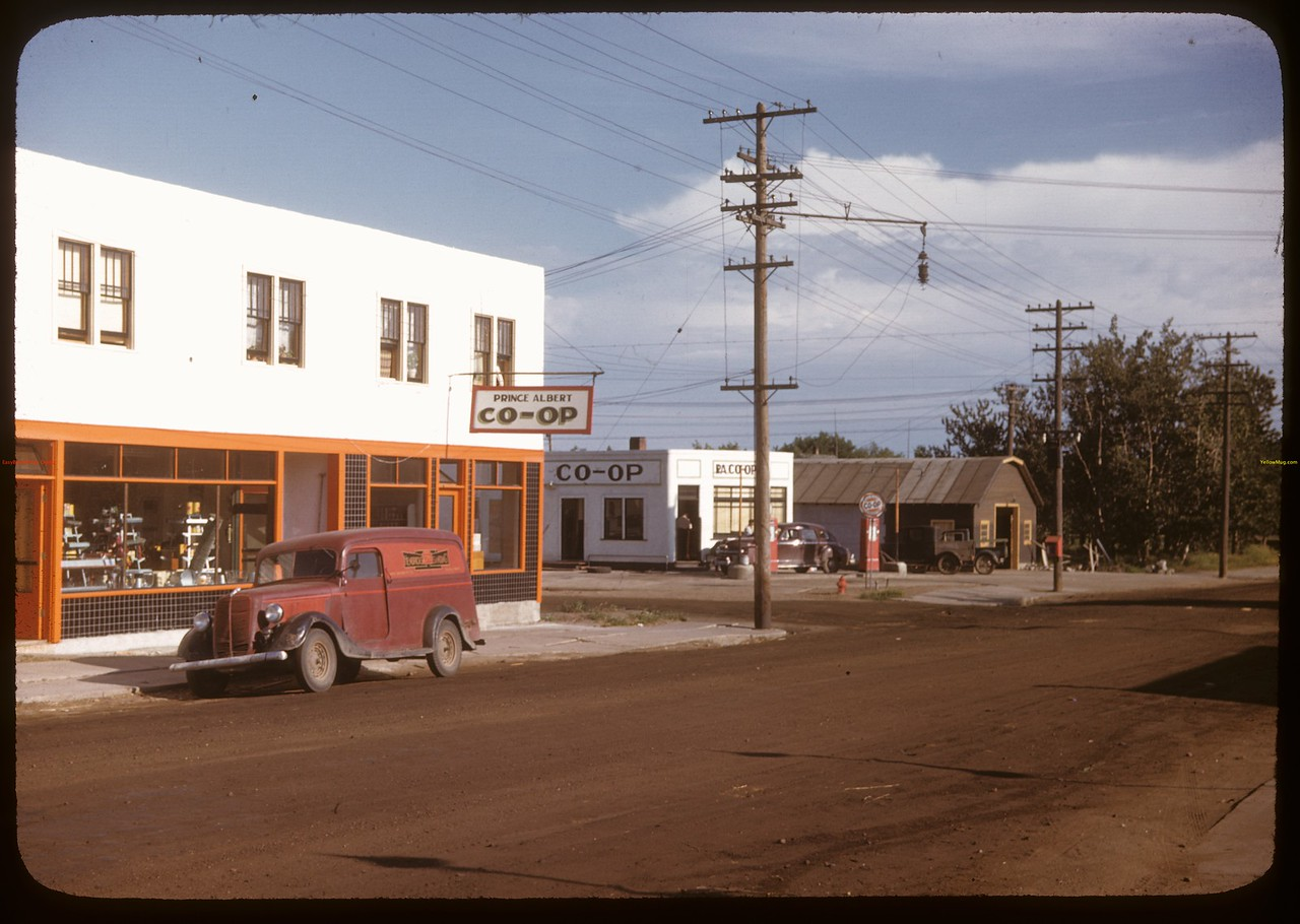 Prince Albert co-op store and oil business. [corner of 14th & Central]. Prince Albert. 07/09/1947