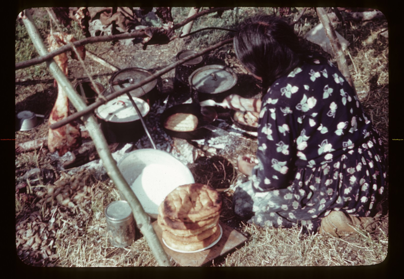 Indian bannock and smoked meat.	 Duck Lake. 07/16/1944