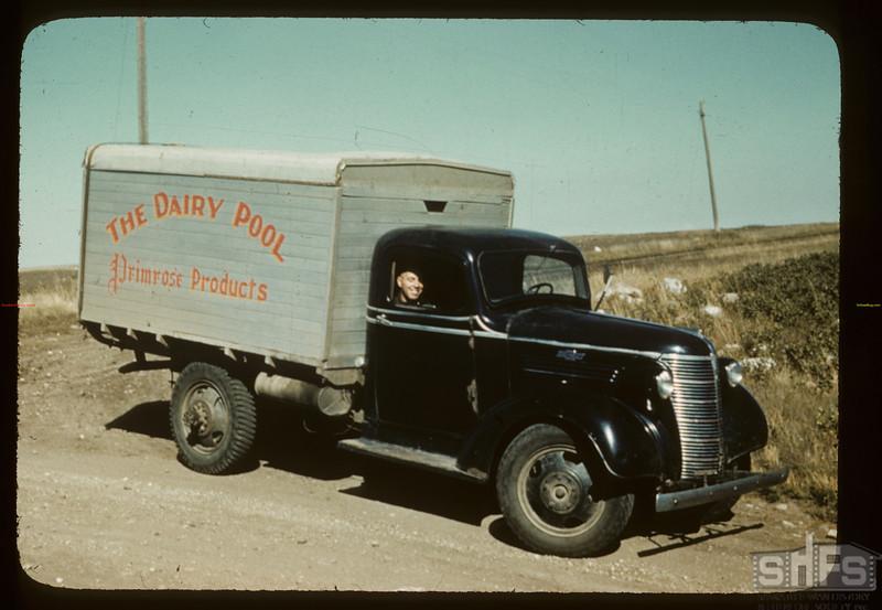 Dairy pool truck between Battleford and Biggar.  Biggar. 09/04/1941