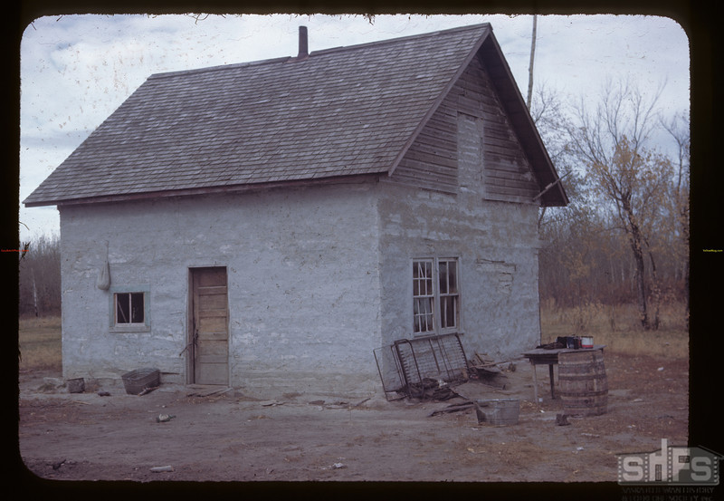 Clay Plastered Indian house.	Duck Lake. 10/09/1945