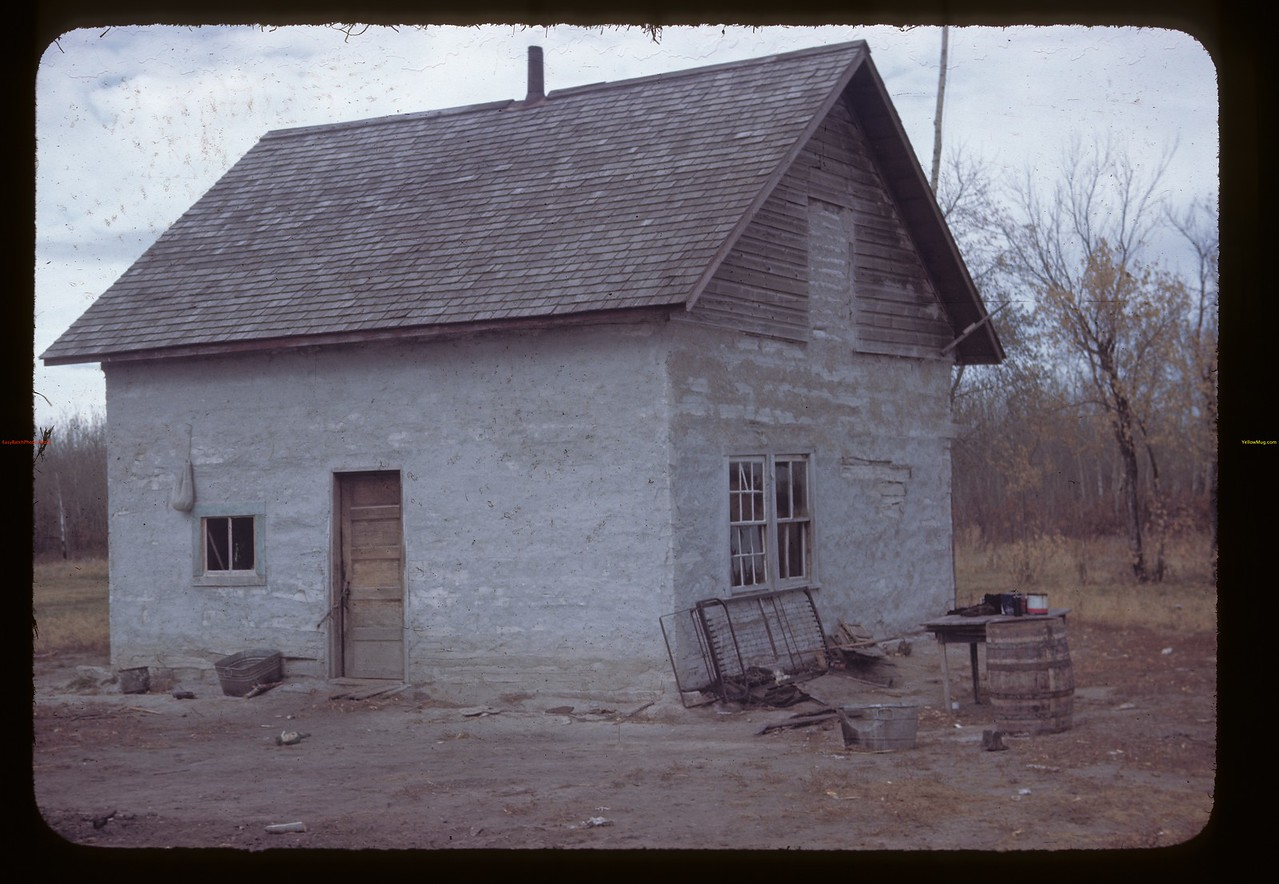 Clay Plastered Indian house.Duck Lake. 10/09/1945