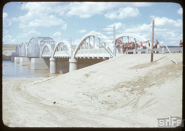 Sask Landing bridge official opening. Sask. Landing 07/11/1951