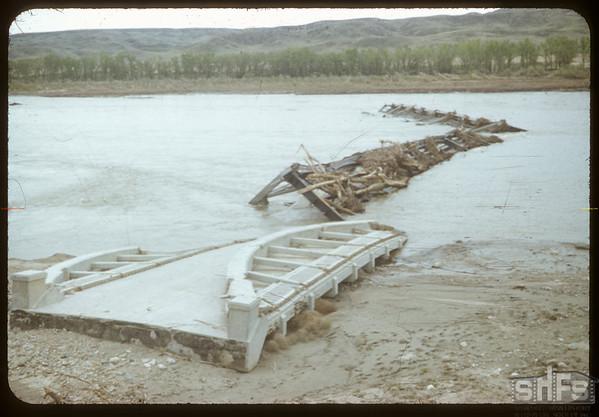 What ice lift did to the new bridge. Sask. Landing 05/11/1952