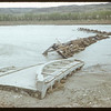 What ice lift did to the new bridge. Sask. Landing 05/11/1952