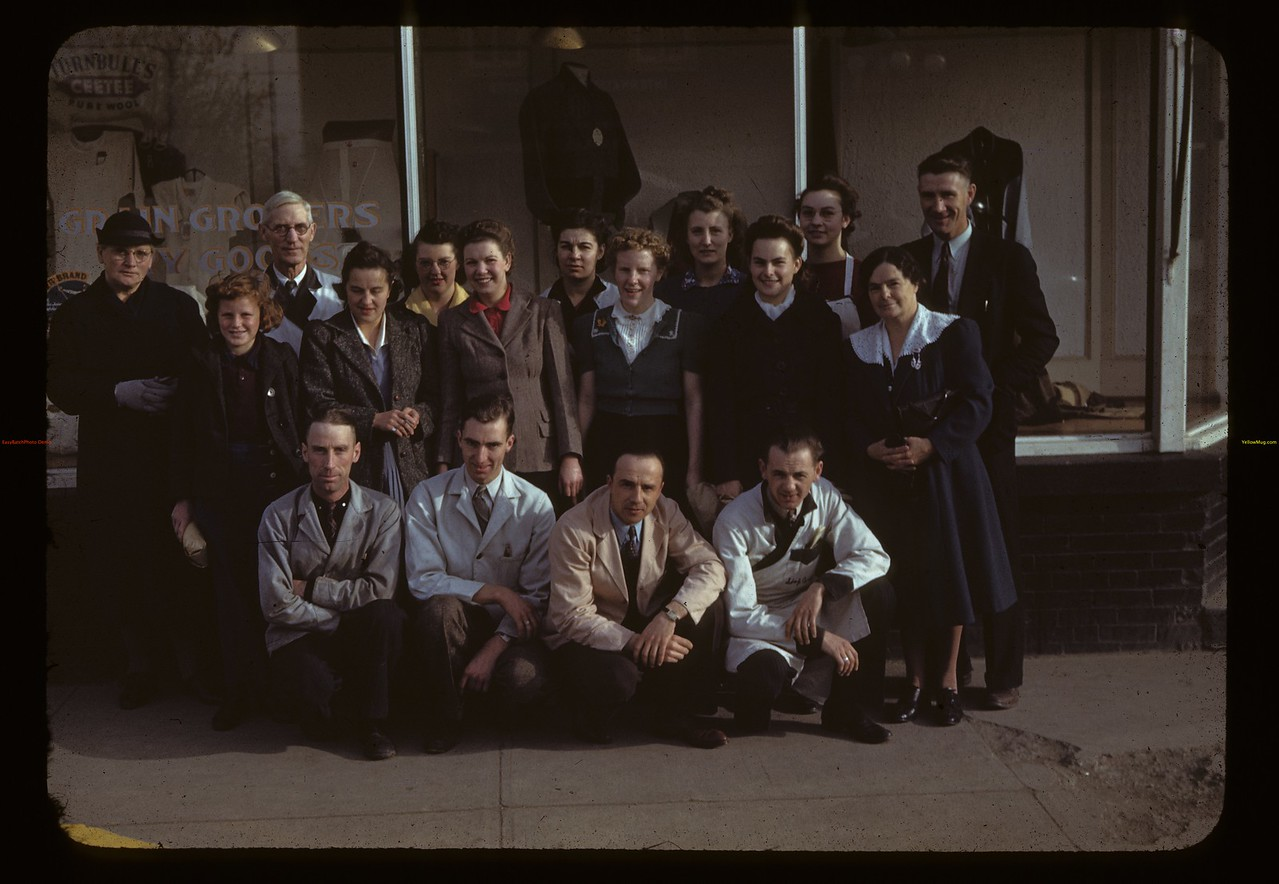 Melfort Co-op store staff and a few customers - manager Dave Rogers. Melfort. 10/09/1942