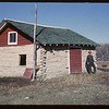 Pete Laflambois and log barn he made. Maple Creek. 10/27/1962