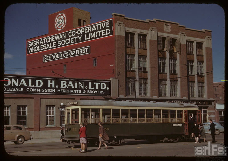 Sask. Co-op Wholesale building with street car in front. Saskatoon 07/14/1944
