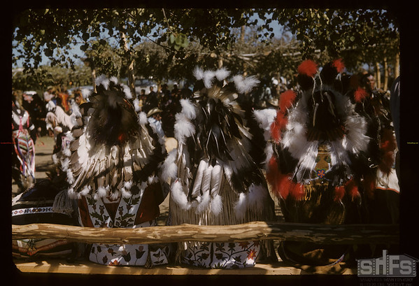 Cerimonial Head Dress from the rear - Sioux Pow Wow. Fort Qu'Appelle. 08/18/1957