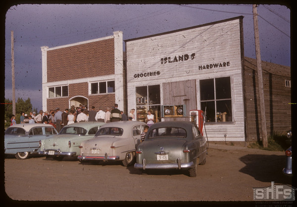 Scotsguard Community Hall and Islands Grocery and Hardware Store. Scotsguard 06/15/1955