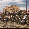 """We did it"" - building stockyards.  Mankota. 07/30/1957"