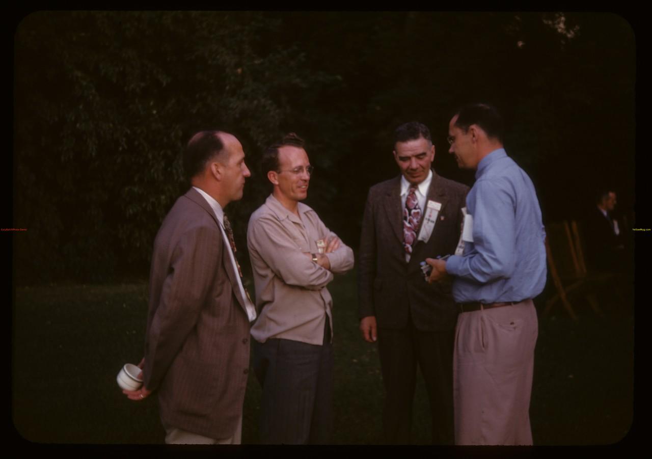 US co-op tour meeting with Premier T.C. [Tommy] Douglas - Honourable C.M. Fines and Honourable L.F. McIntosh. Regina. 09/11/1946