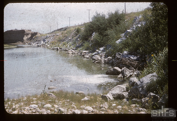 Railway grade rip-rapped with rock from Frank Slide. Knollys. 07/31/1956