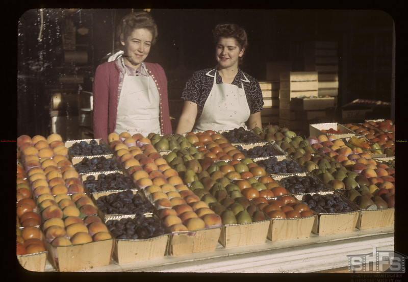 Peaches at the James Brothers store. Biggar. 09/23/1942