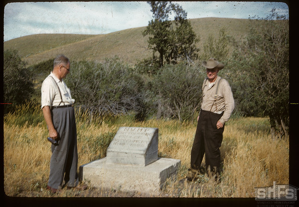 Reddy Parsonage & Everett Baker at NWMP - Cottonwood Coulee Detachment  1878 - 1885 marker.  Oxerat - Joe & Monty Wiley - Ilaf Wallis & David Brost. Maple Creek. 08/02/1960