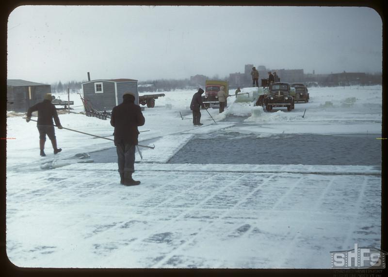 Harvesting ice from Wascana Lake. Regina 02/21/1948