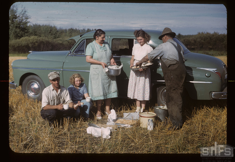 W.P.C. Chairman Frank Popp - afternoon threshing lunch. MacNutt. 09/02/1949