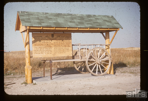 Red River Cart Marker - 7 miles SE of Findlater.  Fir Mountain. 09/13/1955