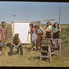 Co-op school girls visit experimental farm field workers.	 Swift Current.	 07/09/1948