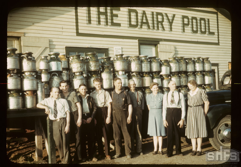 Dairy pool staff and visitors. Biggar. 08/19/1942