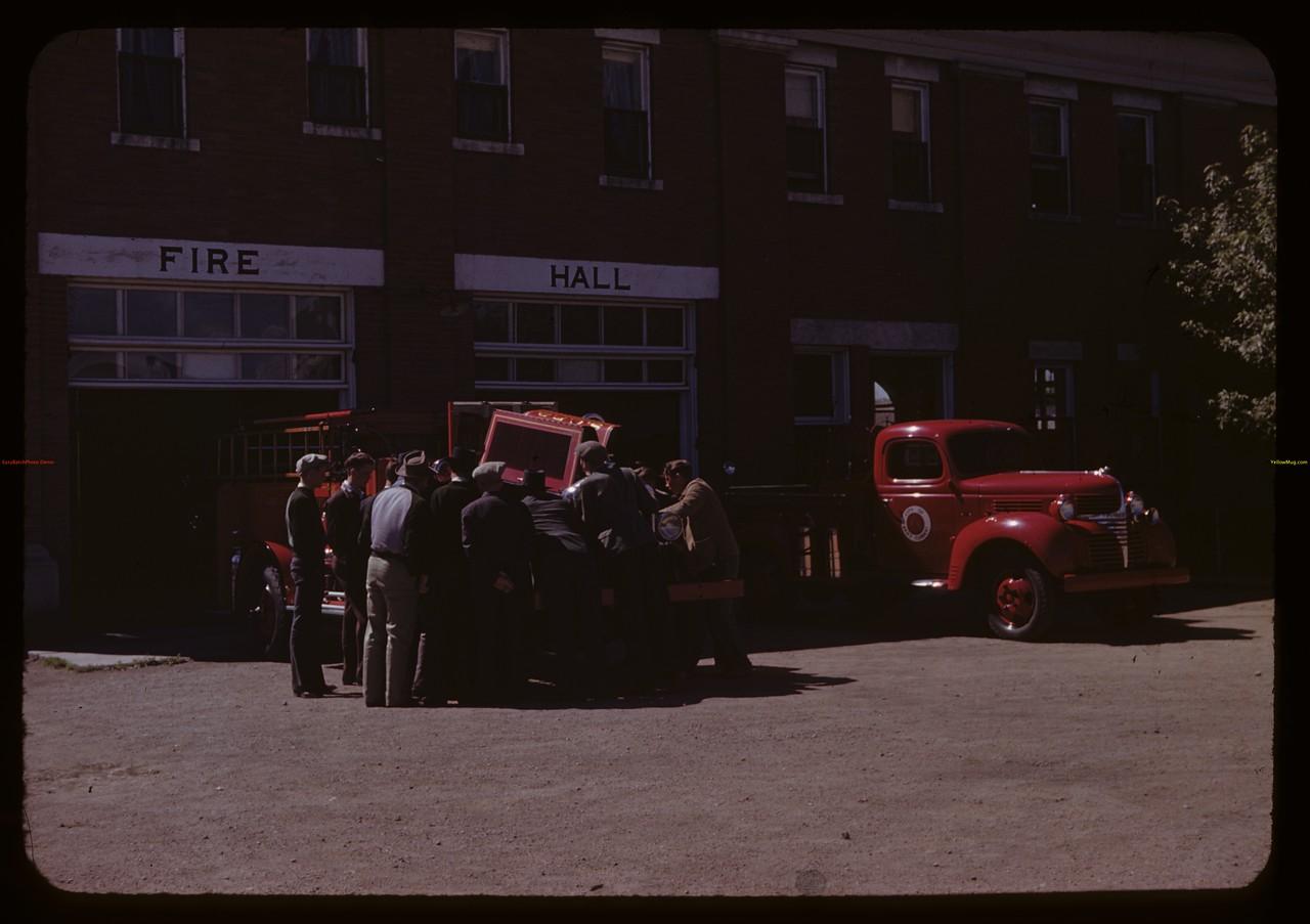 Co-op school students visit firehall. Swift Current. 07/06/1945