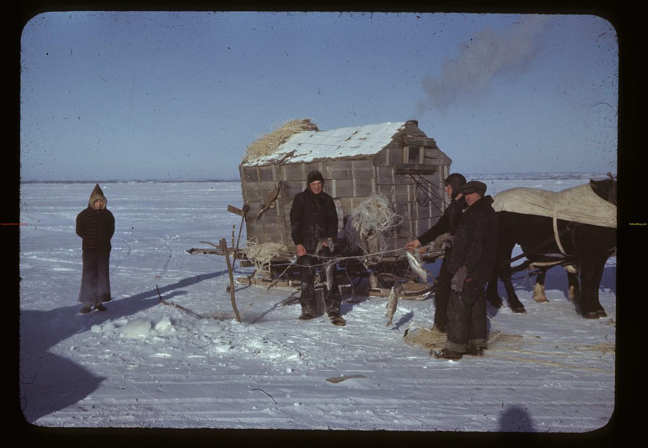 Jackfish Lake (ice fishing). Meota. 01/06/1942