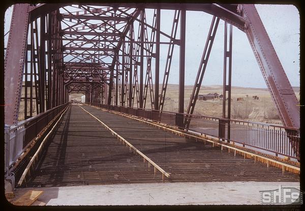 2nd new bridge under construction. Sask. Landing 05/04/1953