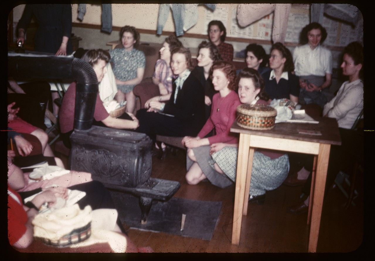 """Miss Carey Demonstrates  """"Ironing"""" Y-T-S. Kenosee.  11/25/1946"""