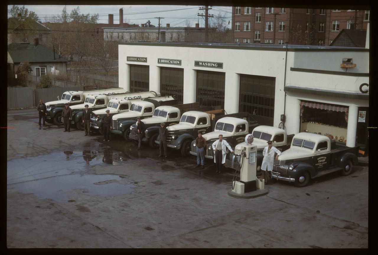 Sherwood Co-op truck fleet; 3 oil trucks - 3 coal trucks and 3 general delivery trucks.  Regina. 10/09/1941