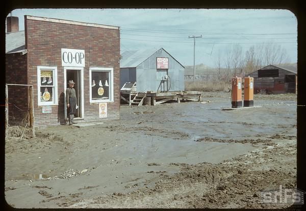 Eastend Co-op 3 days after flood. Eastend. 04/18/1952