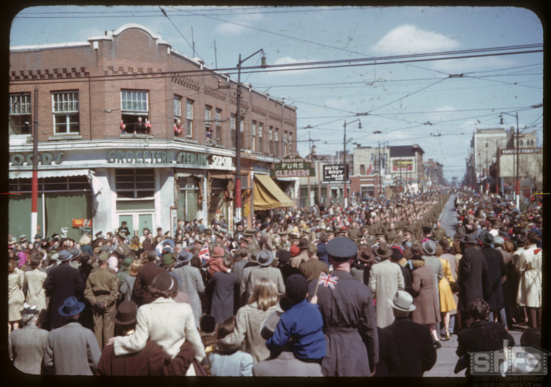 V.E. Parade from Co-op grocery building at 11th Ave. Regina. 05/08/1945