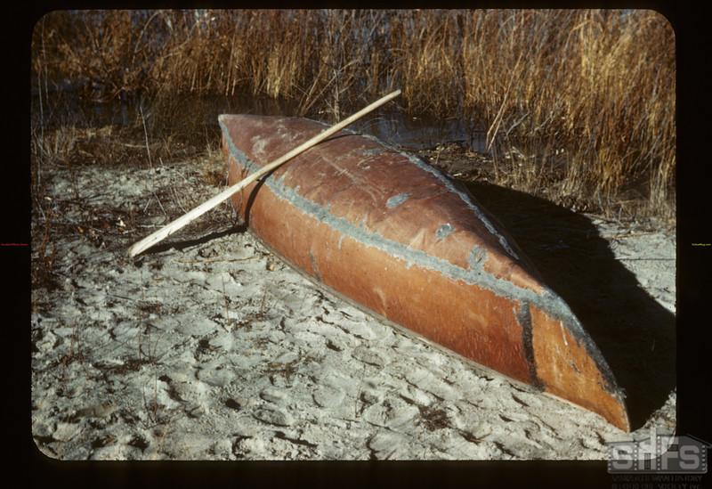 The Chief's birch bark canoe. Loon Lake.  10/29/1943
