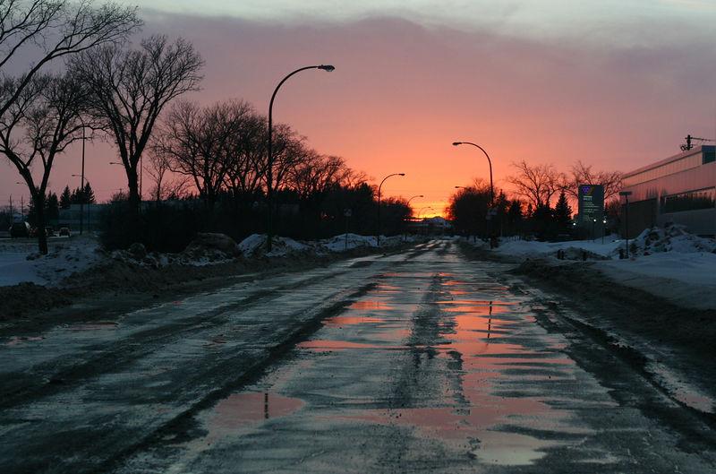 Sunset on a Winnipeg street