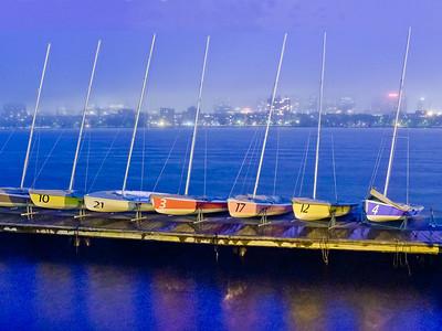 Boats on Midnight Charles - Boston, MA