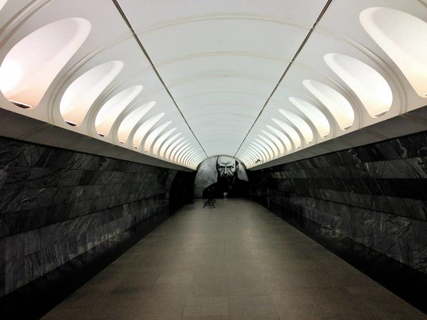 Dostoevsky in the subway Moscow March 2014