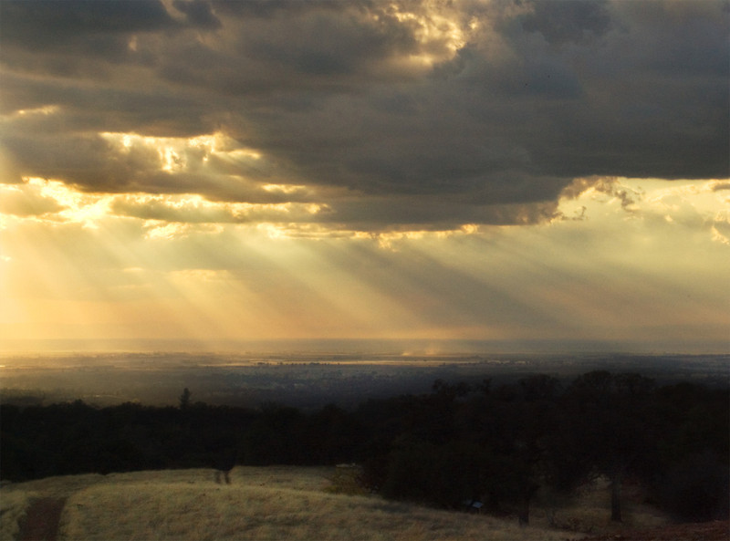 God Beams from Hidden Falls Park, Auburn, CA.